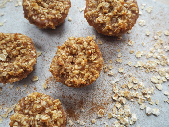 Close up of 5 mini round cinnamon flapjacks spinkled with cinnamon and oats on a pale grey background