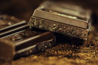 Close up of 2 squares of very dark chocolate containing flavanols