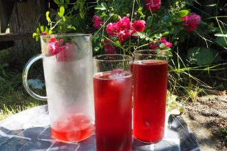 Iced tea jug an two glasses filled with red berry burst adagio iced tea. Sat on a grey tray with a pink rose bush in the background