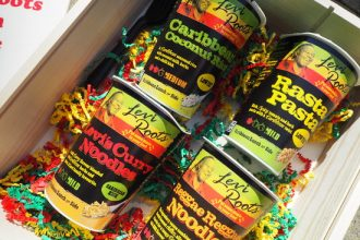 Close up of 4 flavours of LevI Roots snack pots