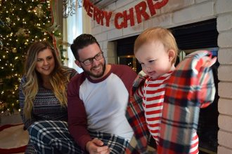 Parent and baby at christmas