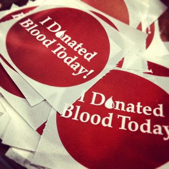Circular 'I Donated Blood Today' stickers