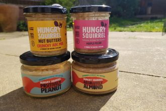4 jars of Hungry Squirrel Nut butter stacked in pairs.