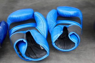 a pair of blue boxing gloves