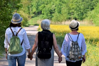 three women wth their backs to the camera going through the perimenopause together. They are holdng hands in support.
