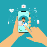 Concept smartphone in hand, online consultation with doctor. Health care. Flat design.